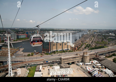 View from a cable car during the launch of the Emirates Air Line showing Excel Exhibition Centre in background, - Stock Photo