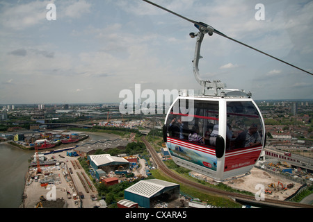 View from a cable car during the launch of the Emirates Air Line, London, England, United Kingdom, Europe - Stock Photo