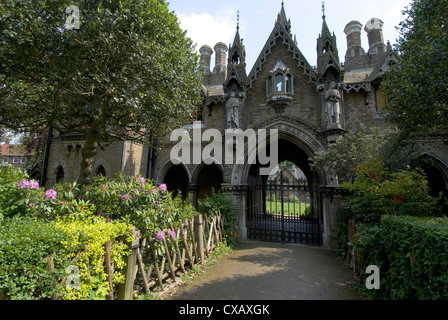 Holly Village, Grade 2 listed Gothic style buildings dating from 1865, architect Henry Darybishire, Highgate, London, - Stock Photo