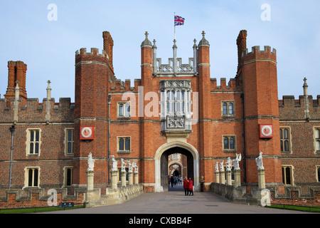 Great Gatehouse, Hampton Court Palace, Greater London, England, United Kingdom, Europe - Stock Photo