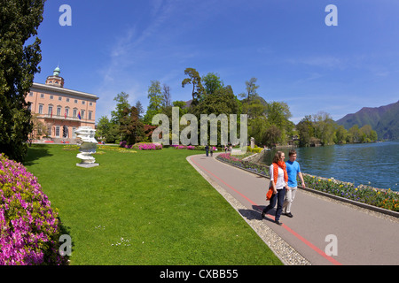 View of Villa Ciani from Parco Civico, Lugano, Lake Lugano, Ticino, Switzerland, Europe - Stock Photo