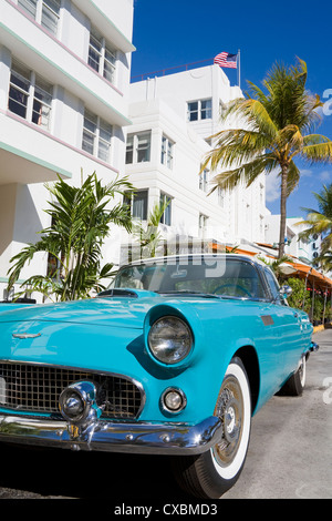 Avalon Hotel and classic car on South Beach, City of  Miami Beach, Florida, United States of America, North America - Stock Photo