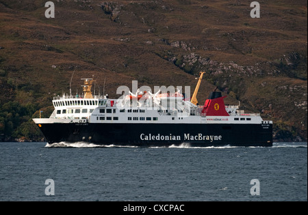 The Caledonian MacBrayne ferry ,MV Isle of Lewis passenger ferry makes it way in to Ullapool Harbour from Stornoway. - Stock Photo