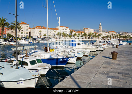 Fishing boats on the waterfront, Split, Dalmatian Coast, Croatia, Europe - Stock Photo
