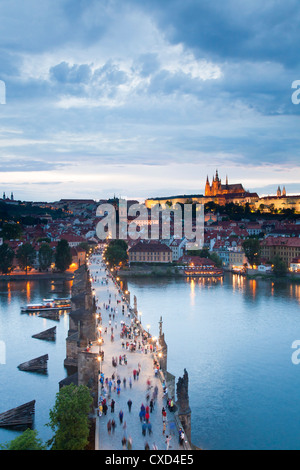 St. Vitus Cathedral, Charles Bridge, River Vltava and the Castle District in the evening, Prague, Czech Republic - Stock Photo