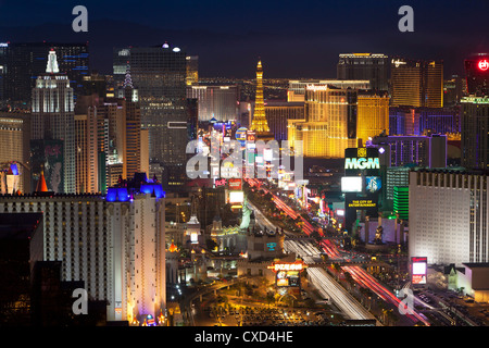 Elevated view of the hotels and casinos along The Strip at dusk, Las Vegas, Nevada, United States of America, North - Stock Photo