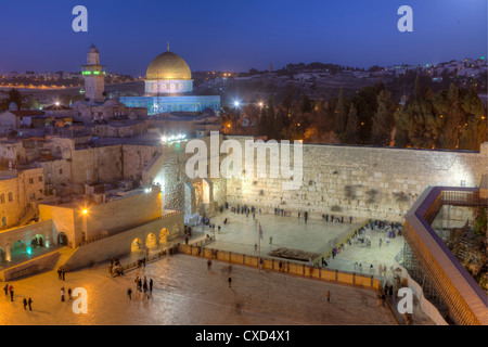 Jewish Quarter of the Western Wall Plaza, Wailing Wall, Old City, UNESCO World Heritge Site, Jerusalem, Israel - Stock Photo