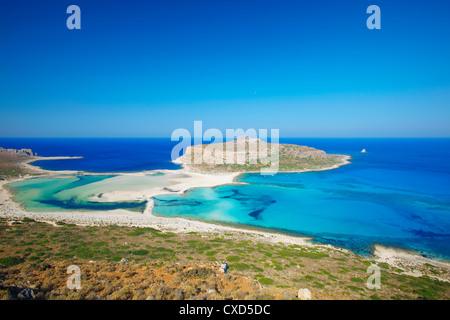 Balos Bay and Gramvousa, Chania, Crete, Greek Islands, Greece, Europe - Stock Photo