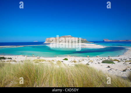 Balos Bay and Gramvousa, Chania, Crete, Greek Islands, Greece, Europe - Stock Photo