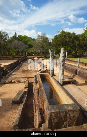 Remains of monastic refectory, Northern Ruins, Anuradhapura, UNESCO World Heritage Site, North Central Province, - Stock Photo