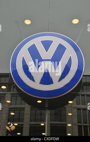 Volkswagen logo Berlin Germany - Stock Photo