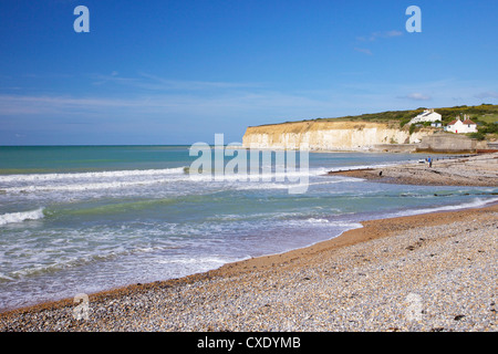 Beach at Cuckmere Haven, East Sussex, South Downs National Park, England, United Kingdom, Europe - Stock Photo