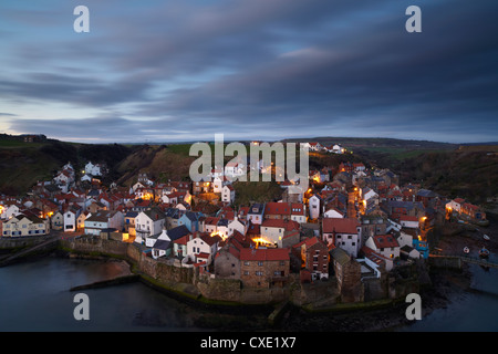 The view from Cowbar of the fishing village of Staithes, North Yorkshire, England - Stock Photo