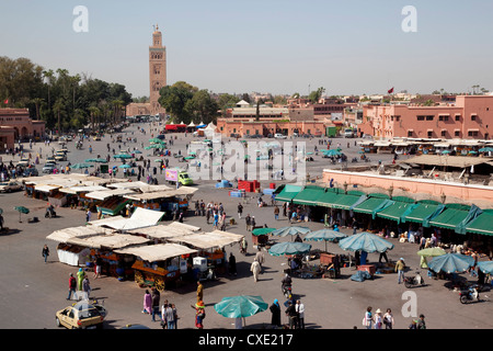 View over market square, Place Jemaa El Fna, Marrakesh, Morocco, North Africa, Africa - Stock Photo