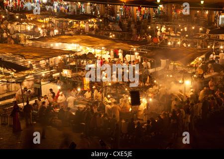 Food market in Djemaa el-Fna, Marrakech, Morocco, North Africa, Africa - Stock Photo