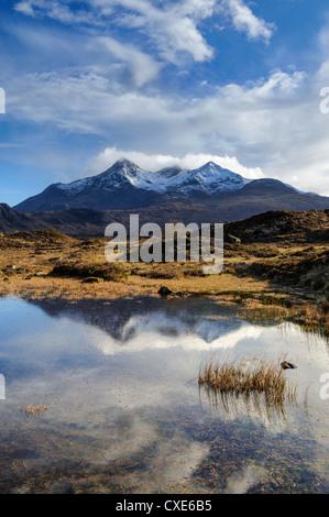 View of the Black Cuillin mountain Sgurr nan Gillean, Glen Sligachan, Isle of Skye, Scotland - Stock Photo