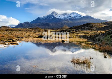 View of the Black Cuillin mountain Sgurr nan Gillean, Glen Sligachan, Isle of Skye, Scotland, United Kingdom, Europe - Stock Photo