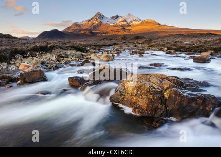 Sunrise view of the Black Cuillin mountain Sgurr nan Gillean, Glen Sligachan, Isle of Skye, Scotland - Stock Photo