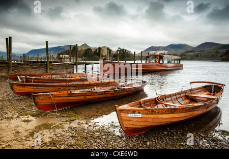 Keswick launch boats, Derwent Water, Lake District National Park, Cumbria, England - Stock Photo