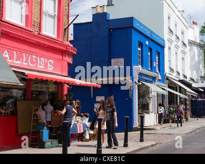 Portobello Road Market, Notting Hill, London, England - Stock Photo