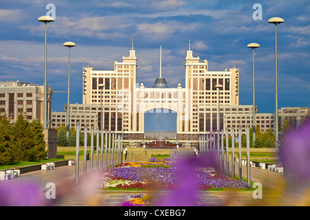 KazMunaiGas building, with Khan Shatyr shopping and entertainment center behind, Astana, Kazakhstan - Stock Photo