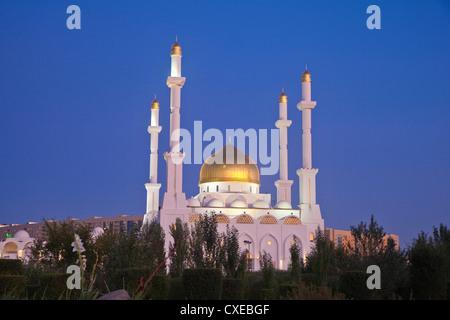 Nur Astana Mosque at twilight, Astana, Kazakhstan, Central Asia, Asia - Stock Photo