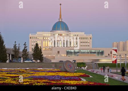 The Ak Orda, Presidential Palace of President Nursultan Nazarbayev at twilight, Astana, Kazakhstan, Central Asia, - Stock Photo