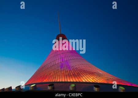 Khan Shatyr shopping and entertainment center at night, Astana, Kazakhstan, Central Asia, Asia - Stock Photo