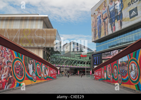 Main entrance to the Westfield Stratford shopping centre (July 2012) in Stratford, East London, UK. - Stock Photo