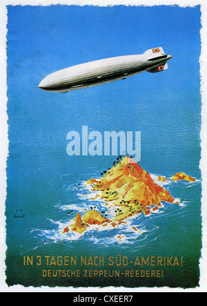 TO SOUTH AMERICA IN THREE DAYS !  German Zeppelin advert about 1935 - Stock Photo