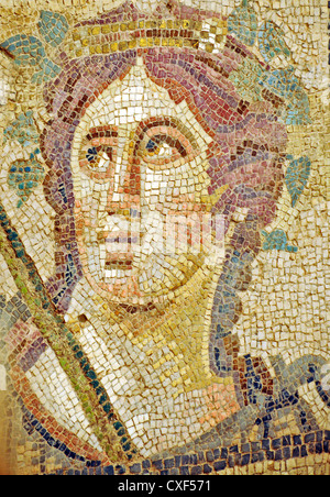Roman mosaic of a female head inside the Roman Terraced Houses, UNESCO World Heritage Archaeological Site, Ephesus - Stock Photo