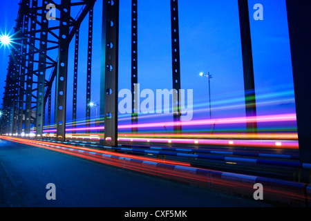 bridge traffic at night - Stock Photo