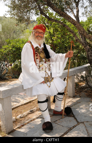 A Greek man in traditional costume in Athens, Greece - Stock Photo