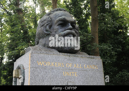 Statue and Grave of Karl Marxs at the HIghgate Cemetery in North London - Stock Photo