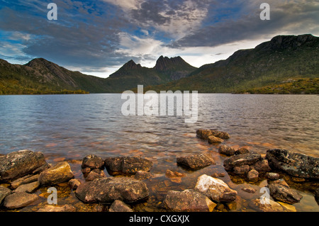 Cradle Mountain and Dove Lake in the early morning. - Stock Photo