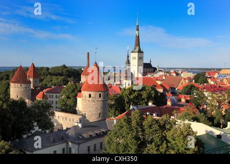 View of old city from Toompea, Tallinn, Estonia - Stock Photo