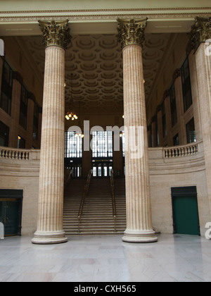 Interior View of Union Station, Chicago, Showing Staircase Used In The Film 'The Untouchables' with Pillars In Foreground - Stock Photo