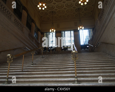 Interior View of Union Station, Chicago, Showing Staircase Used In The Film 'The Untouchables' - Stock Photo