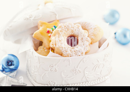 cookies in the white box - Stock Photo