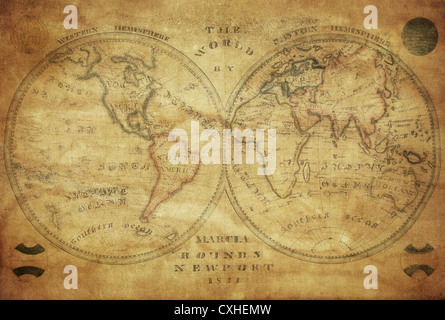 vintage map of the world 1833 - Stock Photo