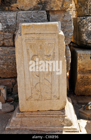 Carving of a snake and lion legged stand at UNESCO World Heritage Archaeological Site, Ephesus, Turkey - Stock Photo