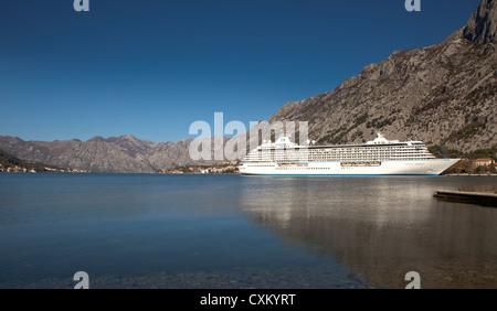 Cruise ship, Kotor bay, Montenegro - Stock Photo