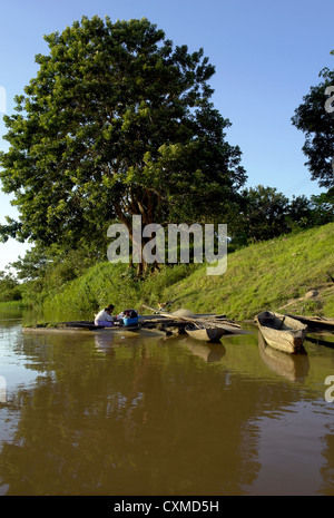 Amazon river margin native lifestyle, near Leticia, Colombia, Brazil and Peru border triangle area - Stock Photo
