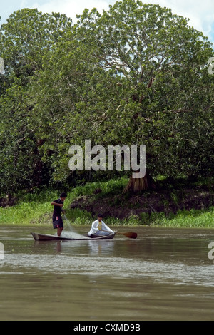 Amazon river young fisherman's, this is the main activity of the tribal on the margin, (Brazil-Peru-Columbia triangle - Stock Photo
