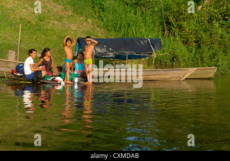 Amazon riverbank native community - Stock Photo