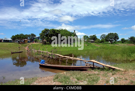 Amazon river margin native community scenary - Stock Photo