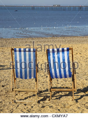 deckchairs on the beach at southend on sea on the essex coast - Stock Photo