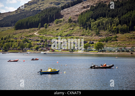 Holiday Lodges on the Drimsynie Estate at Lochgoilhead. Family fun Leisure centre. - Stock Photo