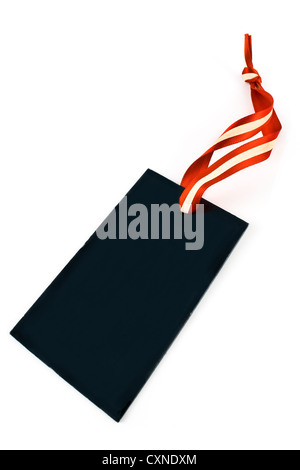 Blank black price tag isolated on white - Stock Photo