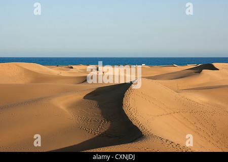 Dunes in Maspalomas, Gran Canaria, Canary Islands, Spain - Stock Photo